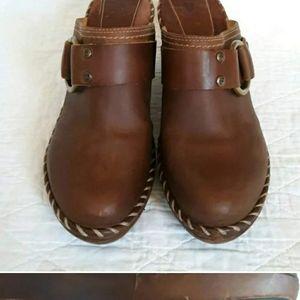 Frye Brown Leather Charlotte Clog Mules Siz